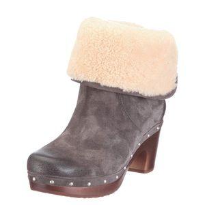 UGG Lynnea Clog Heeled Boot Charcoal